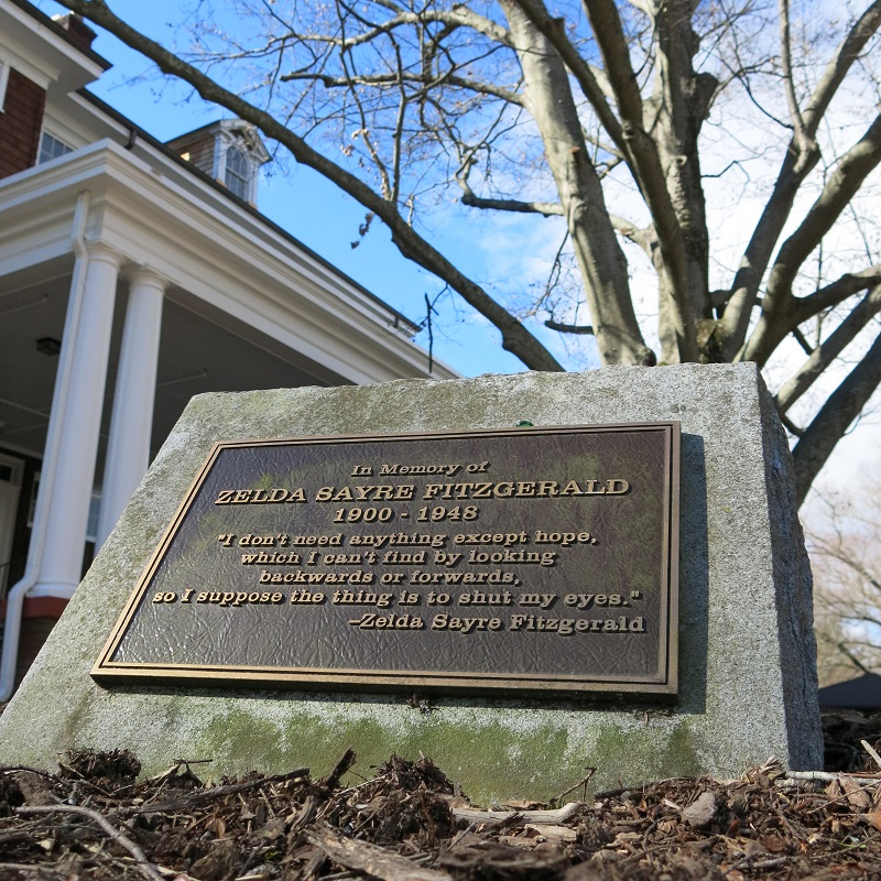 Plaque resting on the front lawn of Highland Hall. It stands as a memorial to Zelda Fitzgerald.