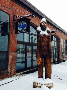 Front entrance to the International Cryptozoology Museum with the famous Bigfoot representation