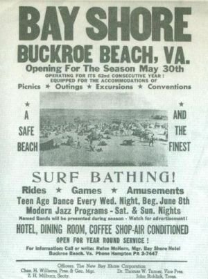 Newspaper article promotes the Bay Shore Beach and Resort, describing its entertainment opportunities
