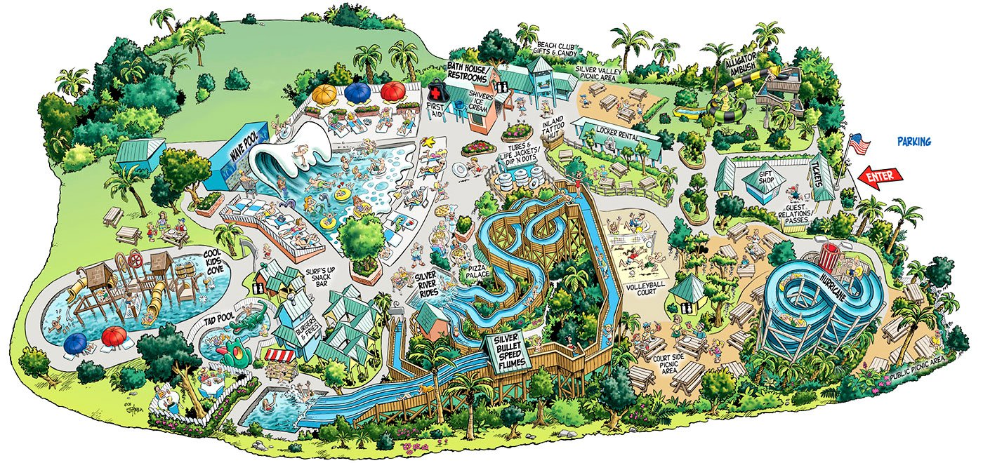 Overview of a map of the water park owned by Silver Springs called Wild Waters.
