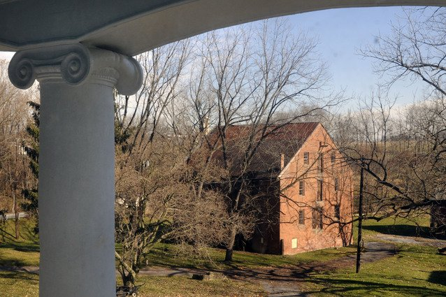 The grist mill as seen from the porch of the Donegal Mills mansion.