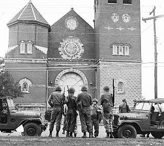 Marshalls protecting the church.