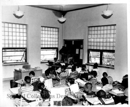 Students in a classroom at Barnett, 1951