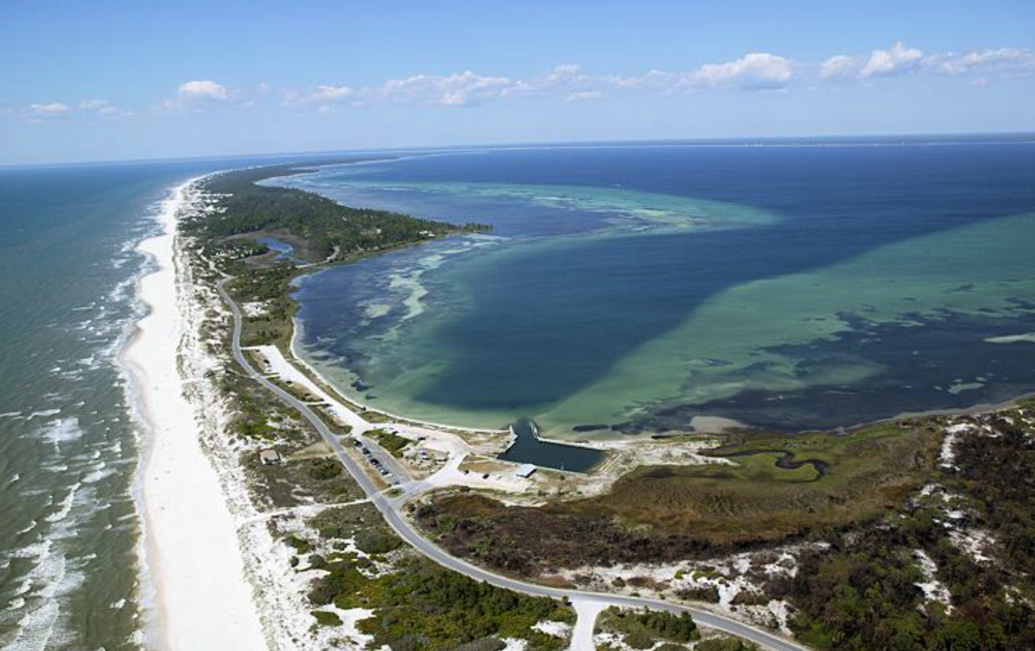 View of the Cape San Blas peninsula which contains the State Park at the northern tip.