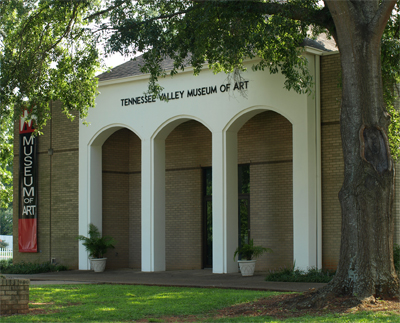 The Tennessee Valley Art Center was constructed in 1972 on Tuscumbia's historic Commons.