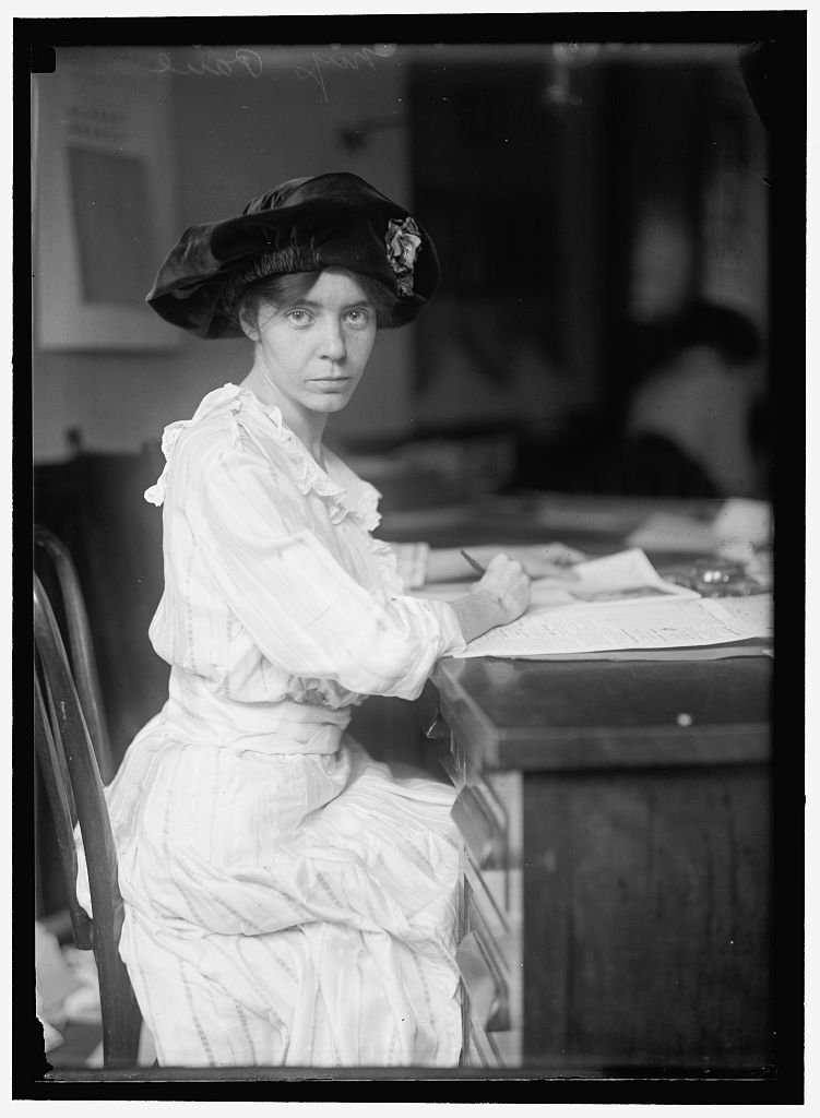 Alice Paul led the Silent Sentinels to their first protest at the White House on January 10, 1917. She was a committed advocate of nonviolent yet public protest and continued fighting for women's rights until her death in 1977. Library of Congress.
