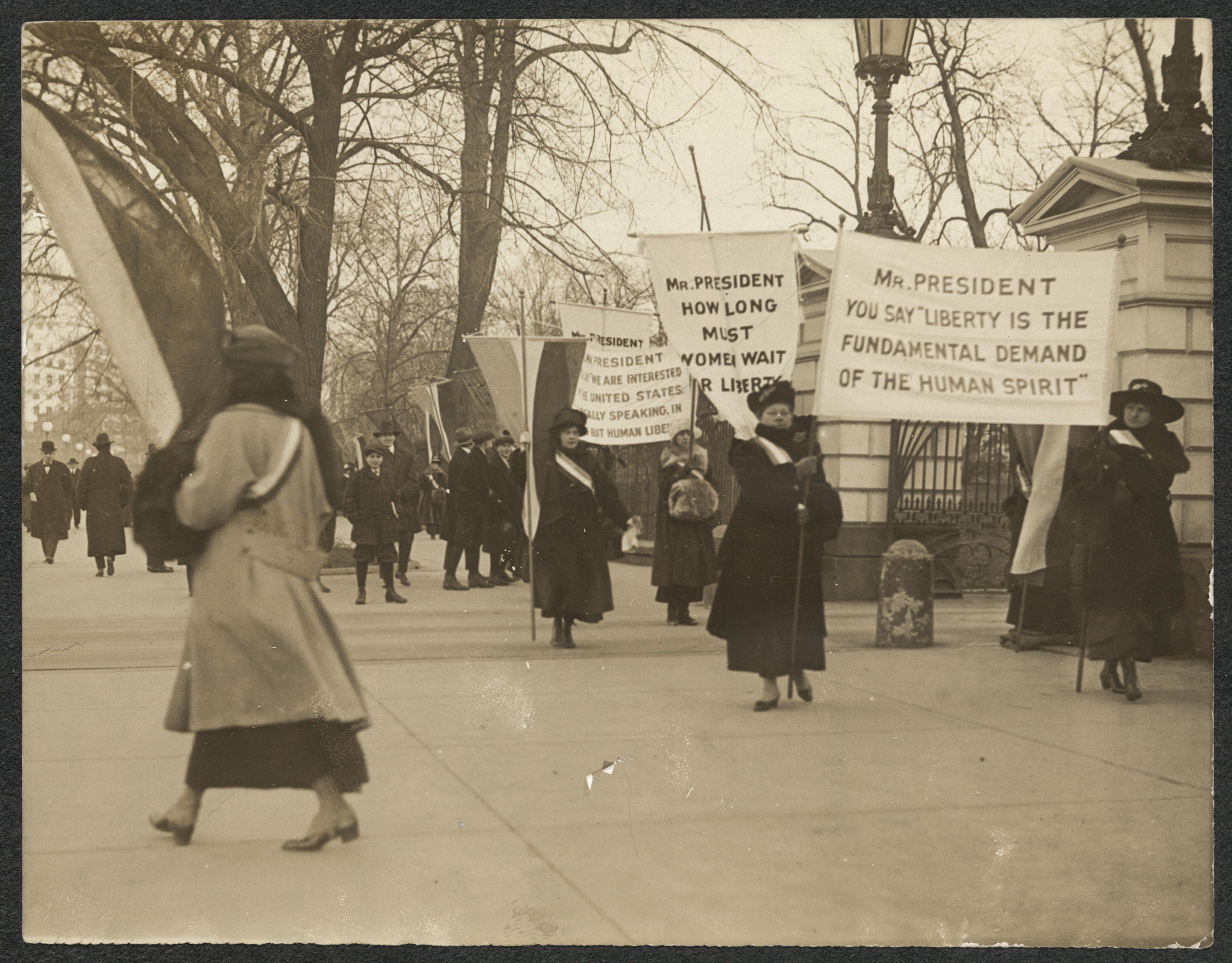 Picketers held signs that directly called upon President Woodrow Wilson to respond to their calls for liberty and democracy. Library of Congress.