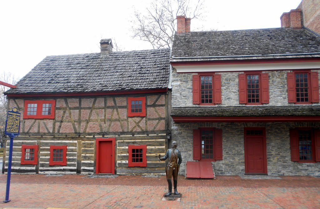 The Golden Plough Tavern (left) and the Gates House were constructed in the mid-18th century.  That's a statue of the Marquis De Lafayette in the foreground.