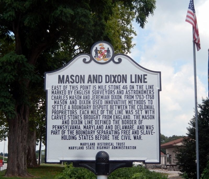 Historical marker located at the border between Maryland and Pennsylvania, The Mason and Dixon Line.