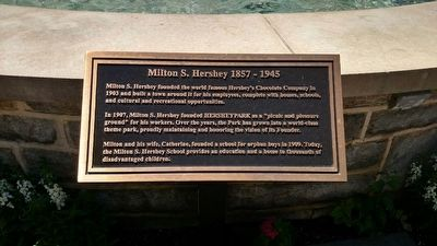 Historical Marker by the statue of Milton Hershey in Hersheypark