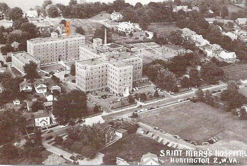 The aerial view of St. Mary's Hospital shows the St. Mary's School of Nursing located directly behind the hospital.6