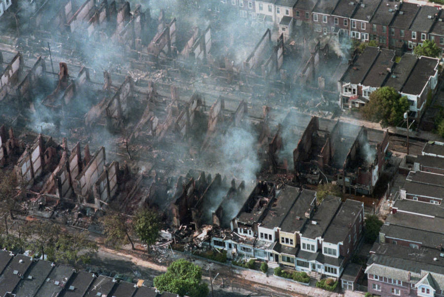 Aerial Image Depicting the Smoldering Remains of the Fire