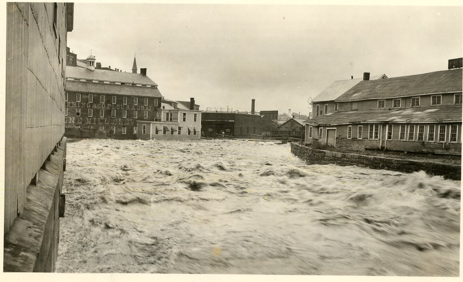 Fitchburg mills bordering the Nashua, Hurricane of 1938