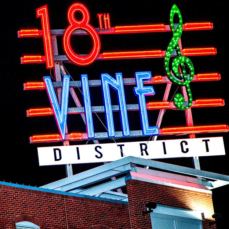 The distinct gateway sign to the historic 18th & Vine Jazz District