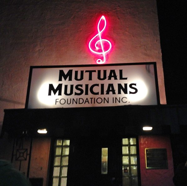 The welcoming sign to the Mutual Musicians' Foundation Incorporated
