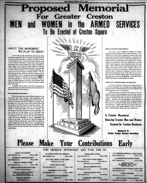 Full Page Ad in The Creston News, July 2, 1943.