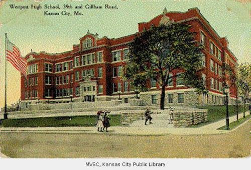 Postcard of Westport High School; Mrs. Sam Ray Postcard Collection (SC58) Kansas City Public Library.