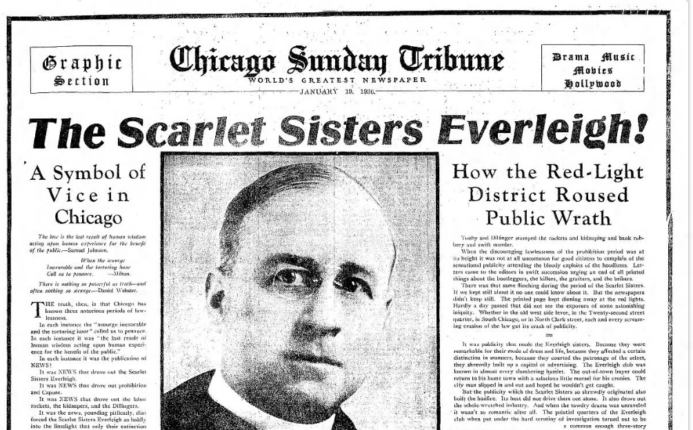 The Scarlet Sisters Everleigh! An article from 1930 discussing the fight against corruption in Chicago and the original efforts taken by the Chicago Vice Council to eradicate it in 1910.
