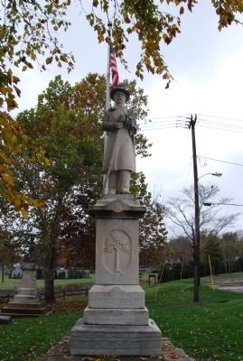 The Fort Mill Confederate Monument, depicting a Confederate Soldier and listing the names of many Fort Mill Confederate soldiers on the inscribed pedestal.