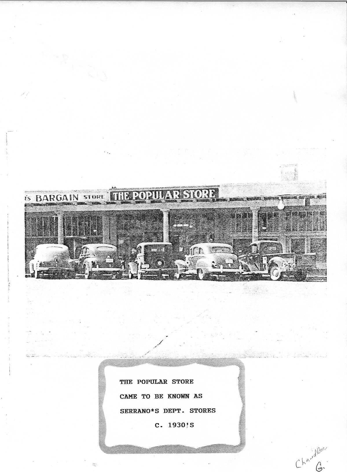Serrano's Popular Store, 1930