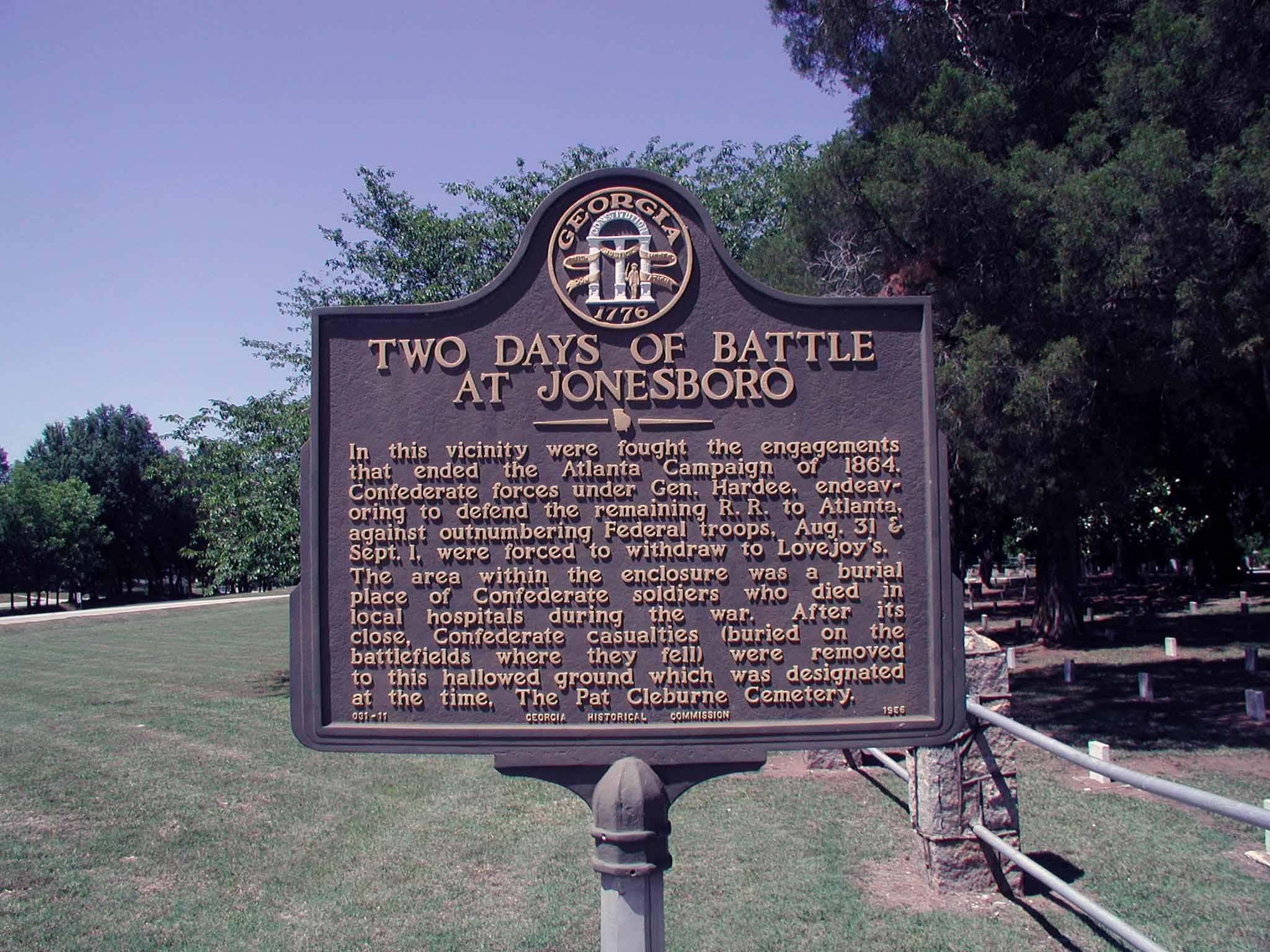 Historical Marker Signifying the Battle of Jonesboro