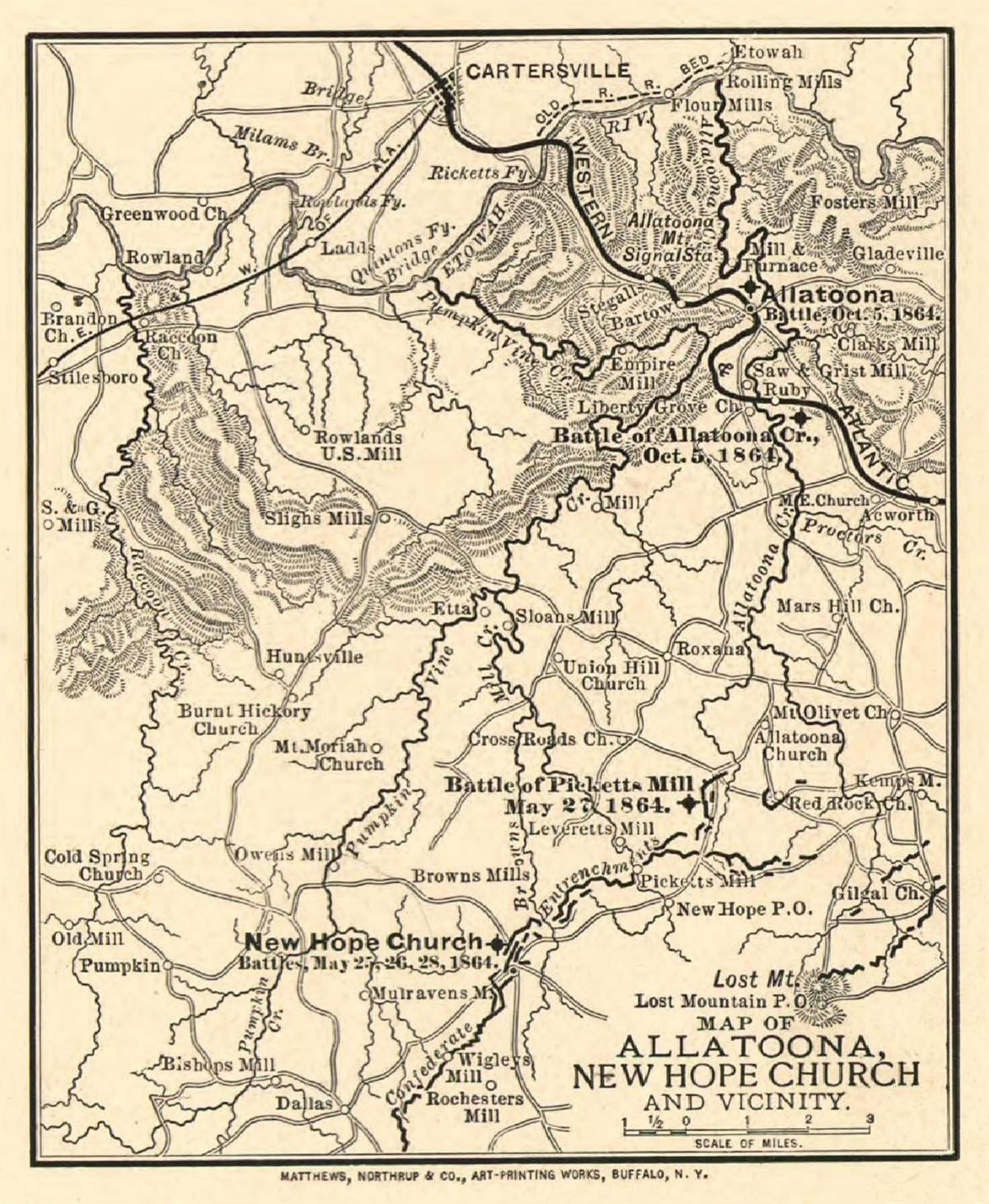 This is a map of Georgia specifically focused around Allatoona and the New Hope Church area.