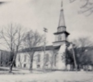 The First Baptist Church Building 1858-1898 before it had to be torn down because of the last major flood in 1894.