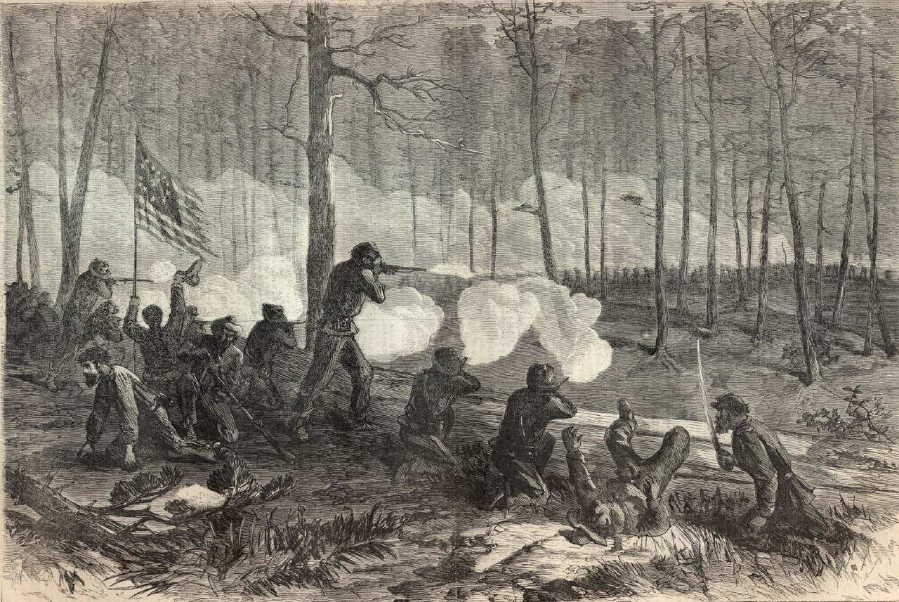 Engraving of the battle by Theodore R. Davis for Harper's Weekly