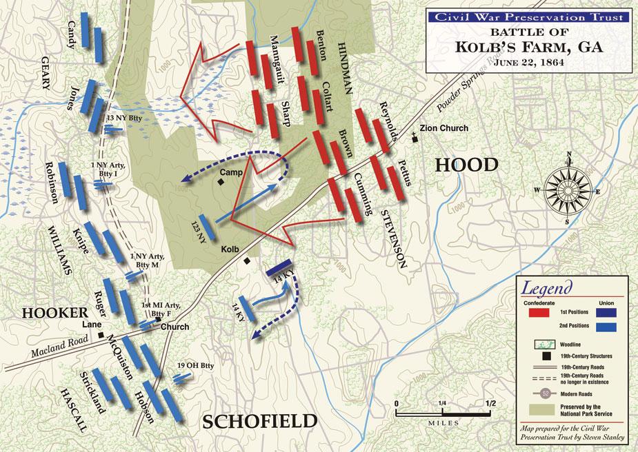 Map of Battle of Kolb's Farm