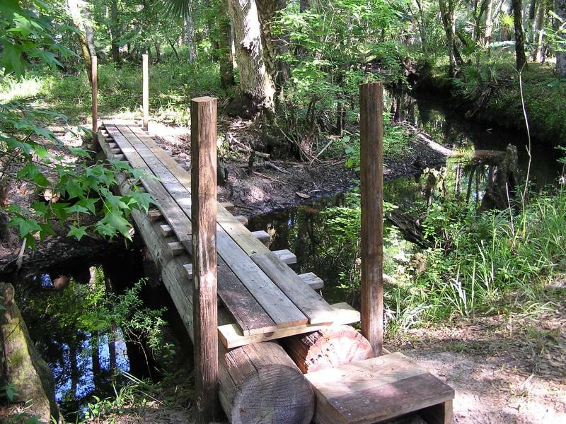 A bridge to cross one of the creeks