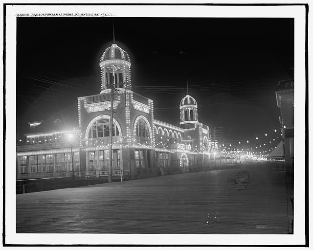Boardwalk at night (1910-1920)