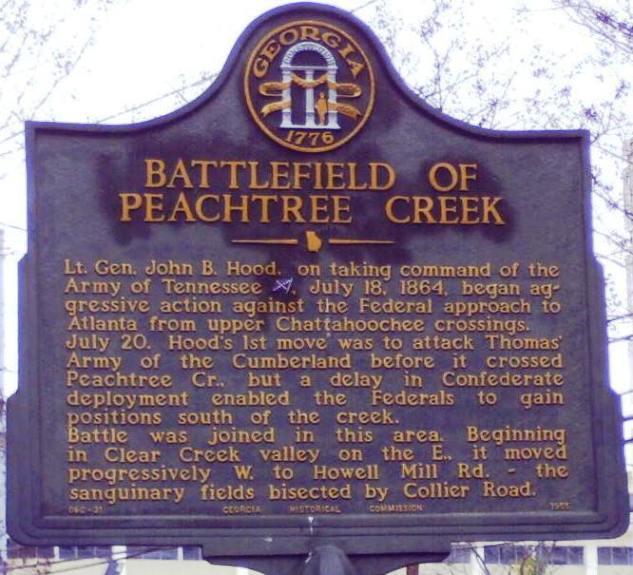 Peachtree Creek Historical Marker