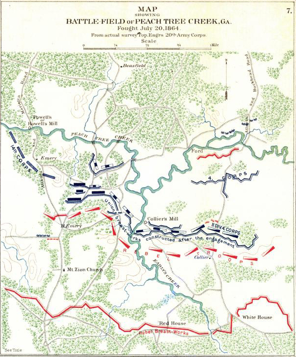 Map of the Battle of Peachtree Creek