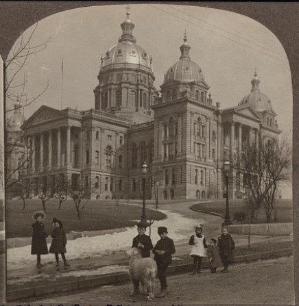 Photo of children & a goat in front of Capitol Building around 1906 (C.L. Watson)
