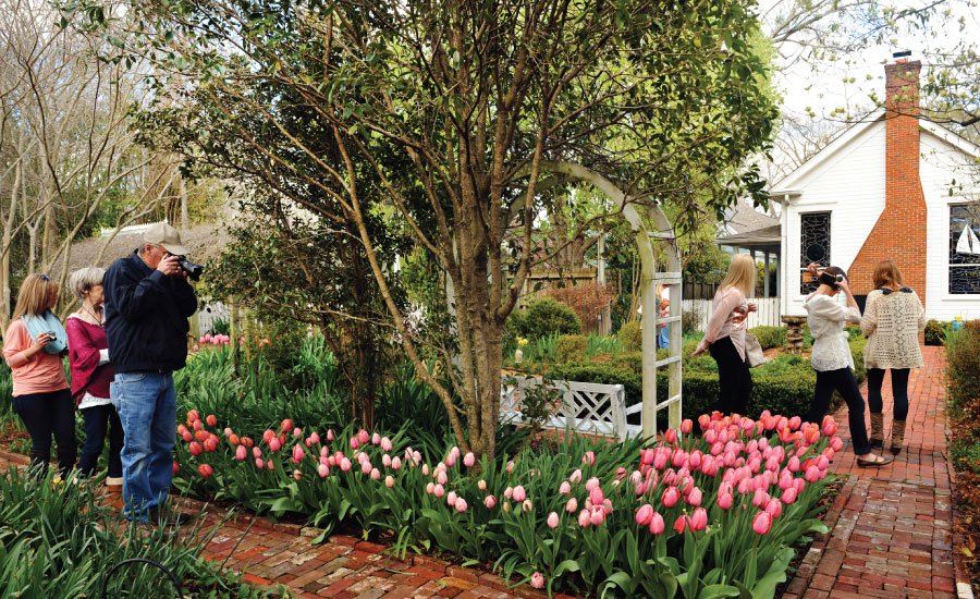 Visitors touring the gardens