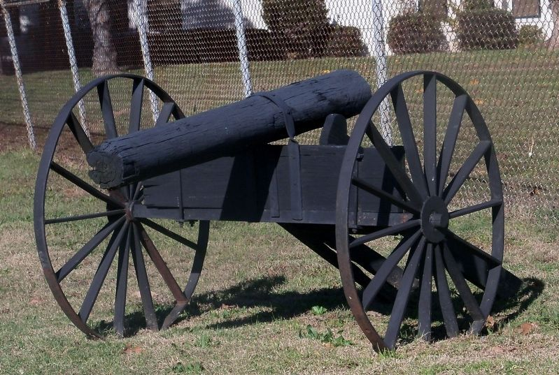 A recreation of the fake cannons positioned at Fort Humbug