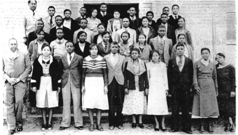 Charles P. Adams (left) with the incoming freshman class of 1930 courtesy of Grambling State University newspaper, The Gramblinite