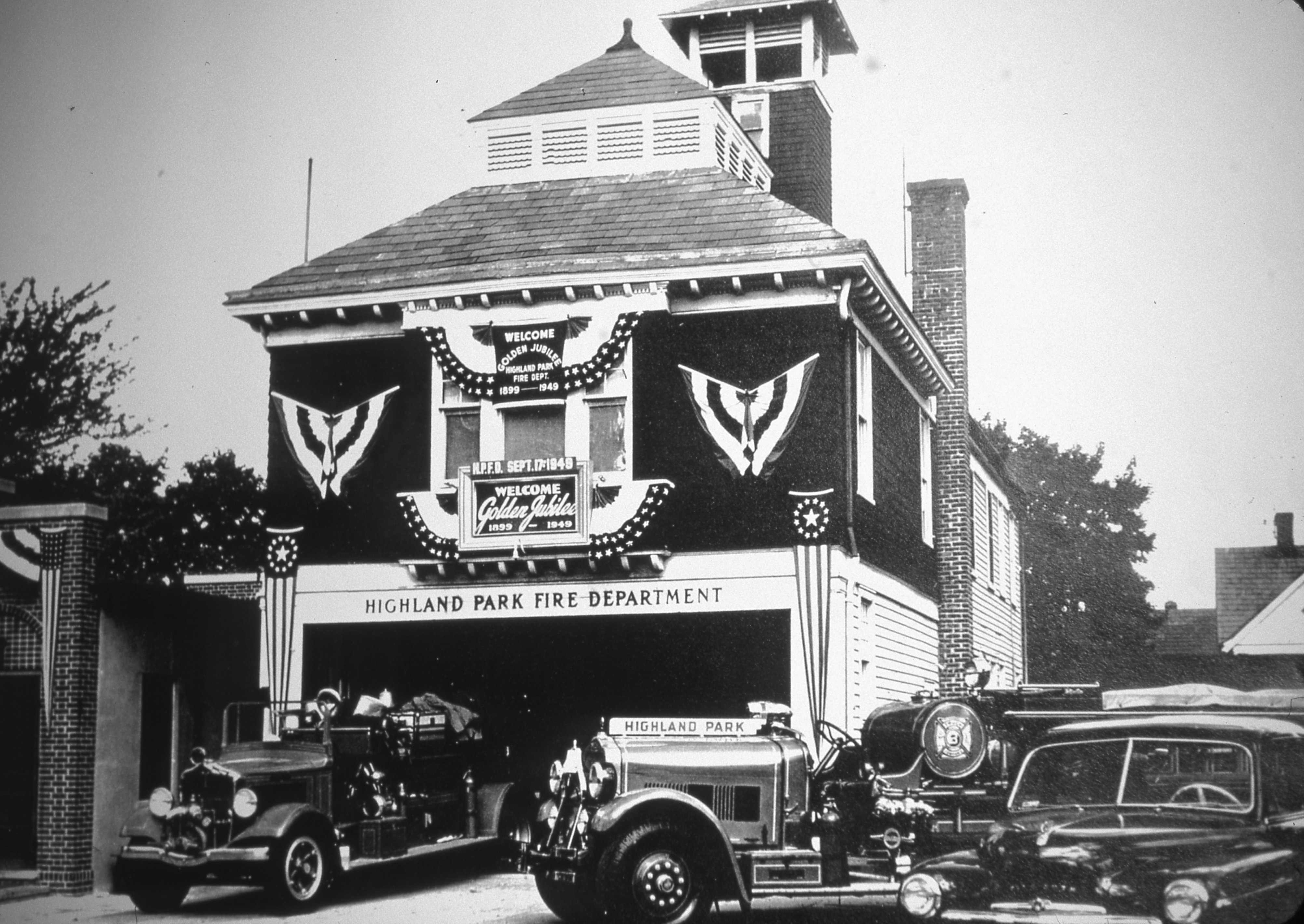 The firehouse in 1949 celebrating the department's 50th anniversary.