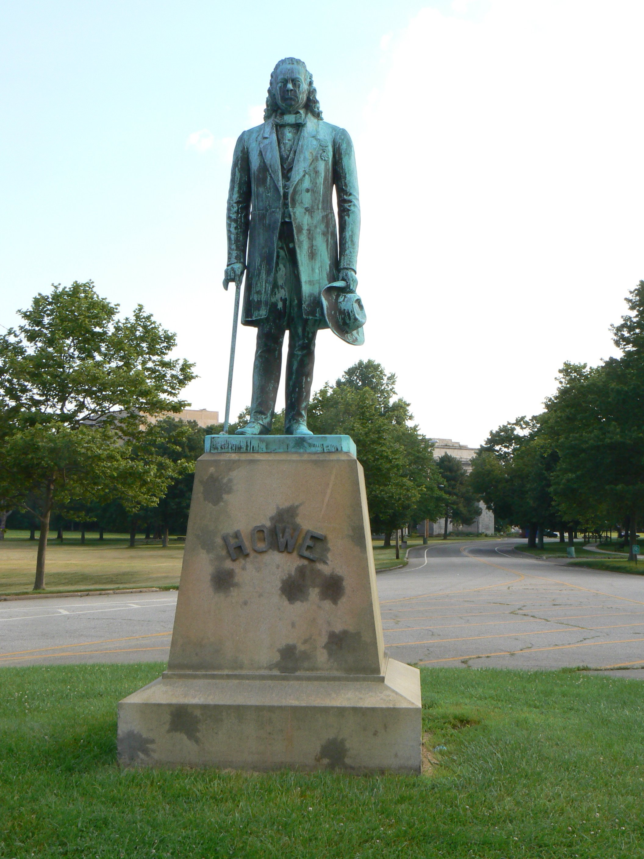 Statue dedicated to Elias Howe Jr. ,  sculpted by Salathiel Ellis (1873) Part of the 17th Connecticut Volunteer Infantry in the Union Army Company D during the American Civil War.   Located on Howe Drive. Seaside Park Bridgeport, Ct.