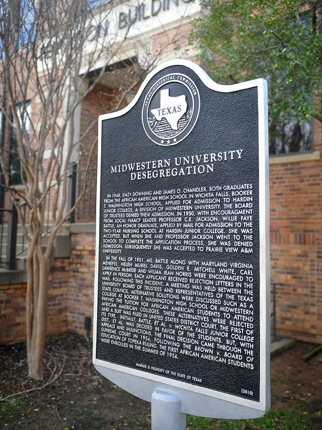 This official Texas Historical Marker shares the story of integration at Midwestern University.