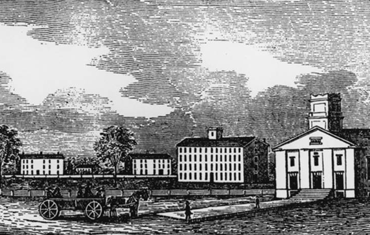 Wood engraving of Oberlin College, 1846