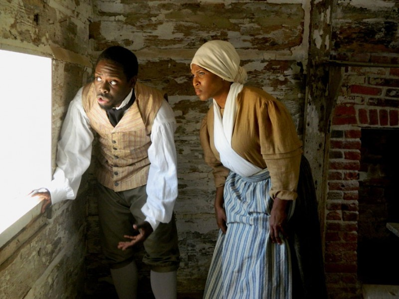 "Jay Hunter and Shemika Berry perform in ""The Choice,"" a living history drama set during the War of 1812 at Sotterley."