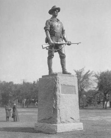 "The Student Soldiers Memorial Monument, popularly known as ""Iron Mike,"" was moved outside the Armory in 1940"