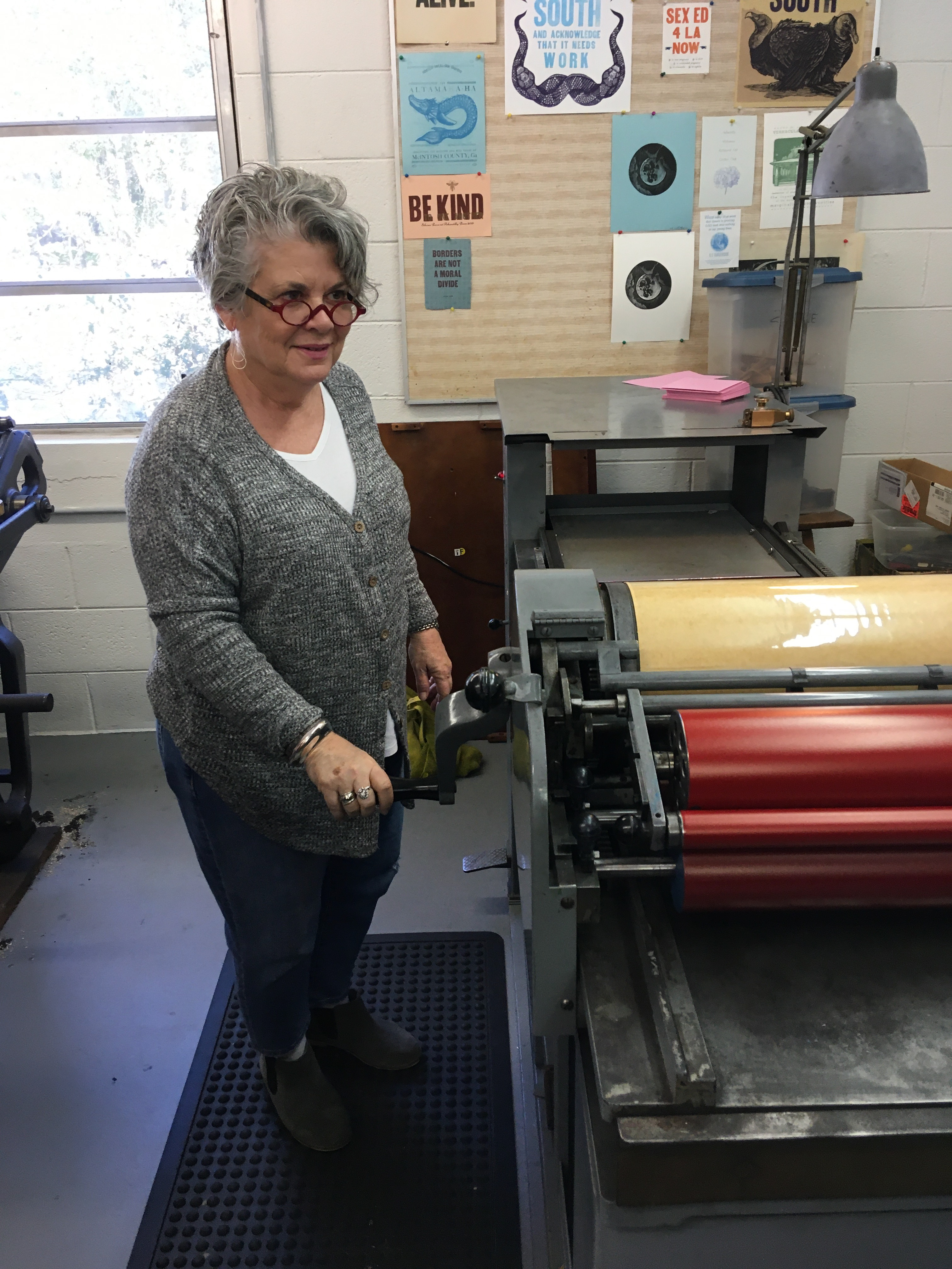Printing Valentine cards at the Ashantilly Press