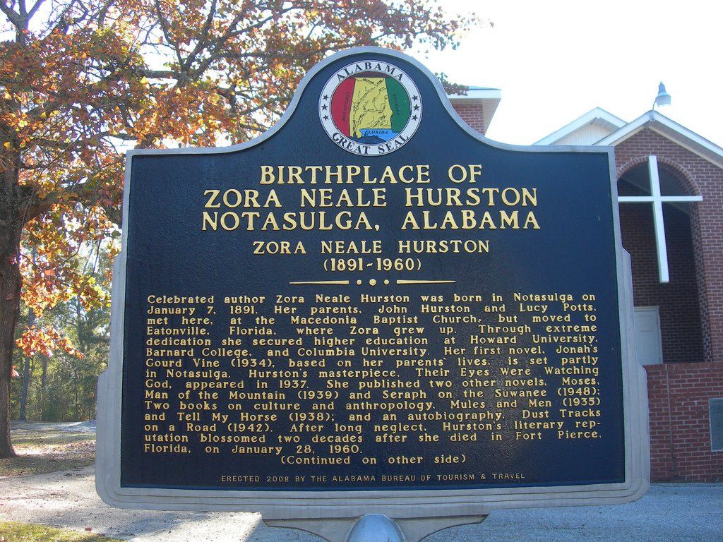 Zora Neale Hurston's landmark that identifies her birthplace is located outside of Macedonia Baptist Church, where her parents are said to have met.