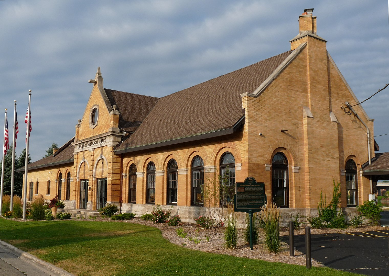 2012 photo of the Milwaukee Road Depot in Green Bay, Wisconsin was built in 1898 in Flemish Renaissance Revival style.