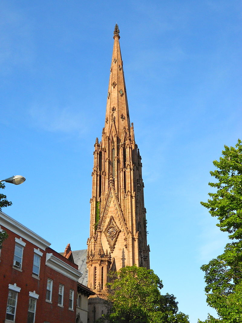 The spire of the First & Franklin Presbyterian Church