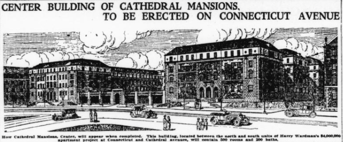 "A 1923 article from the newspaper Evening Star says the luxurious Cathedral Mansions Center will include ""500 rooms and 200 baths."" Library of Congress."