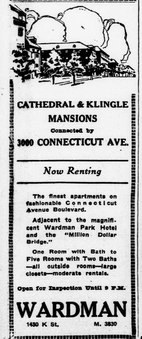 Cathedral Mansions North was once known as Klingle Mansions, named for the nearby Klingle Valley. The Klingle Valley Bridge would be constructed in 1931. The bridge mentioned in this 1924 ad references the Taft Bridge. Library of Congress.