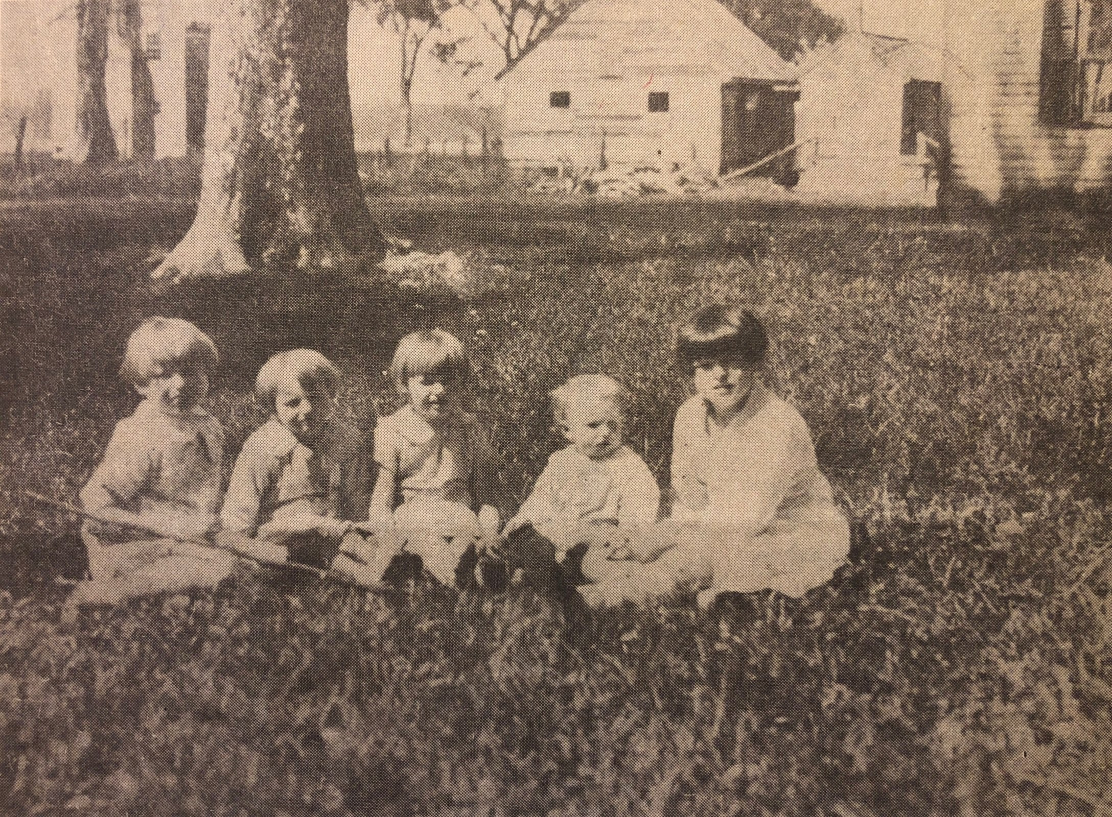 c. 1929 photo of the Wood House in the center background
